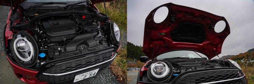 新型ミニ・クラブマン クーパーS ALL4のエンジンルームとボンネット。