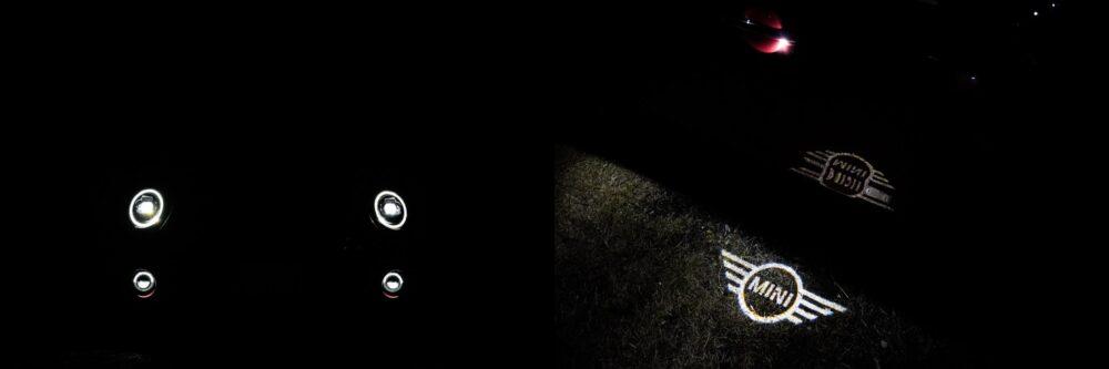 新型ミニ・クラブマン クーパーS ALL4のヘッドライト点灯状態とカーテシーランプ。