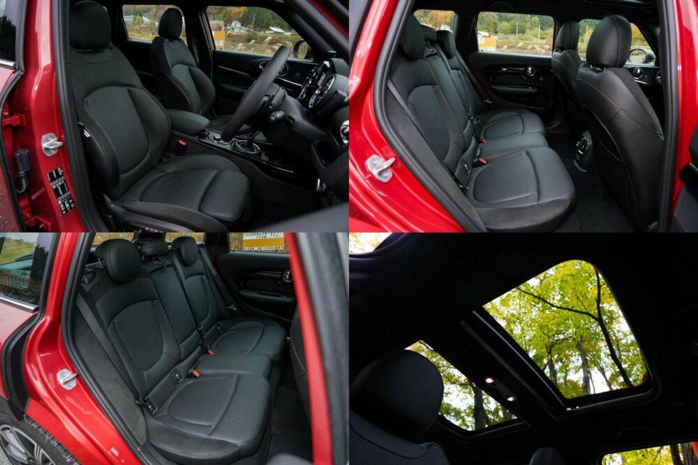 新型ミニ・クラブマン クーパーS ALL4の内装、前後のシート。