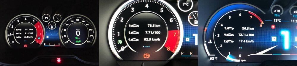 アルピーヌA110のメーターパネル内の燃費表示