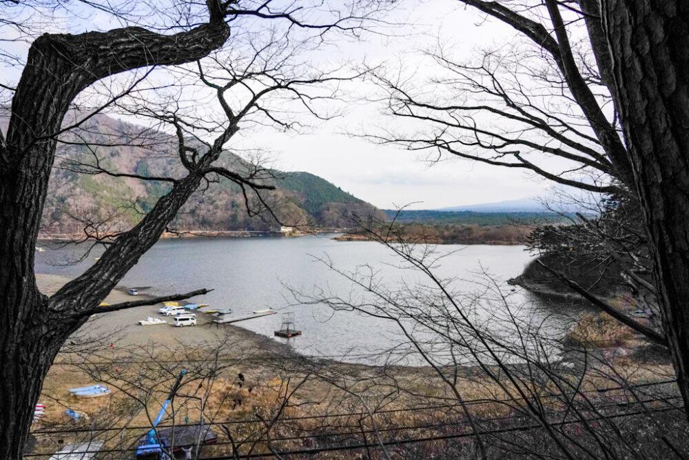 精進湖ハイキングコース「パノラマ台」途中から望む精進湖