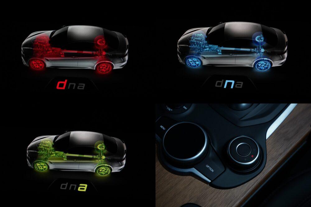 アルファロメオ ジュリア 2.2Lターボ・ディーゼルスーパー「ALFA™ DNA ドライブモードシステム」の各画面と設定ダイヤル