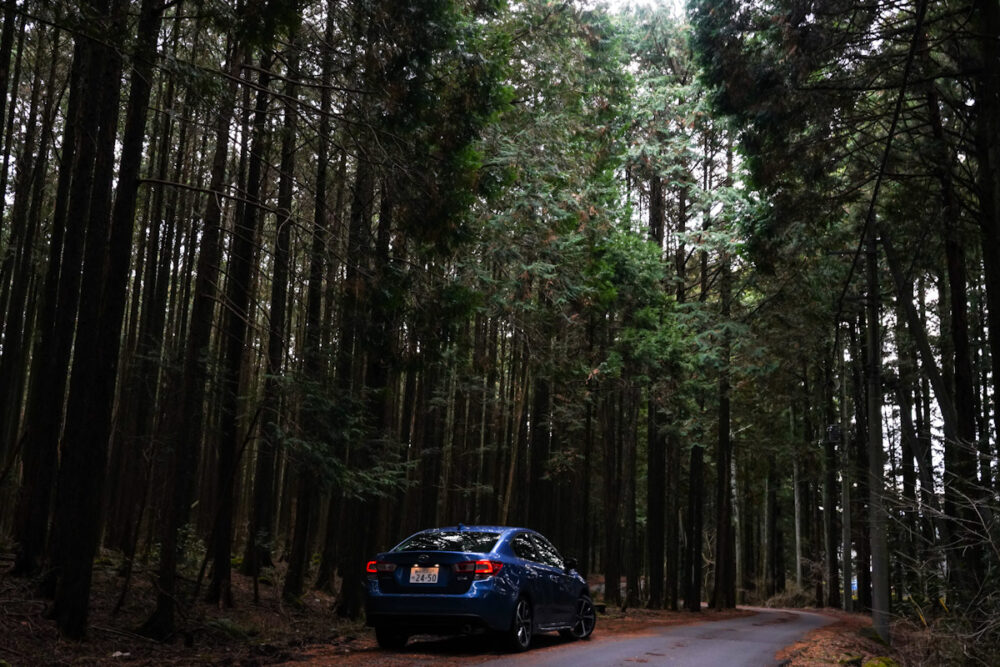 林の中にスバル インプレッサ G4