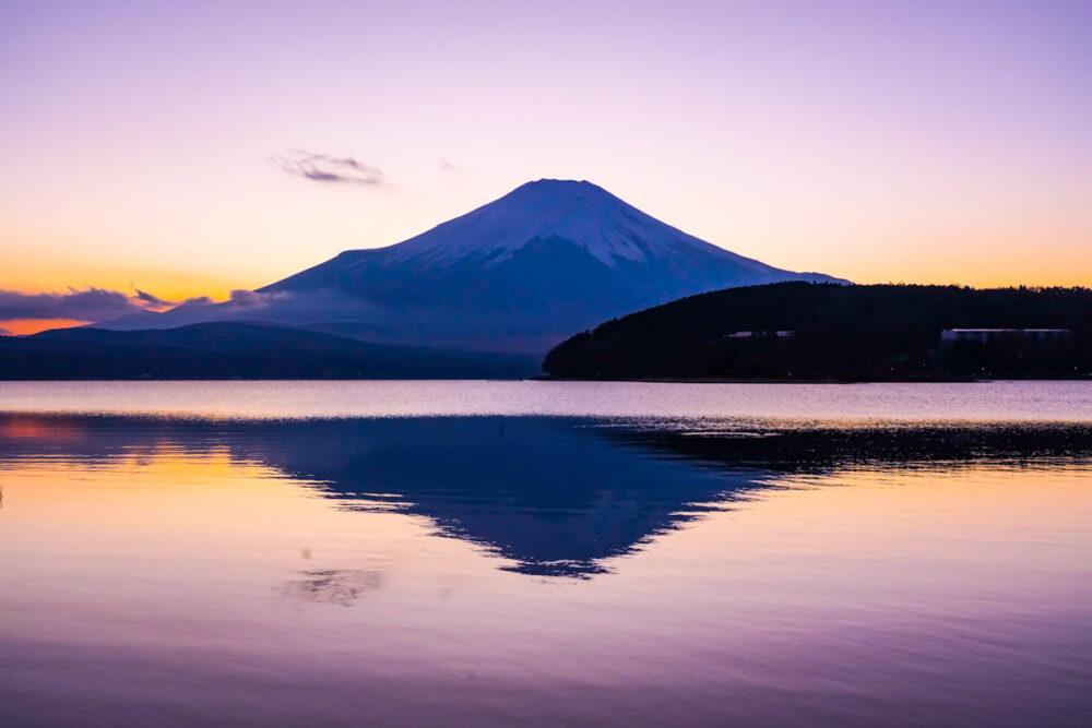 山中湖 日の入り後の逆さ富士