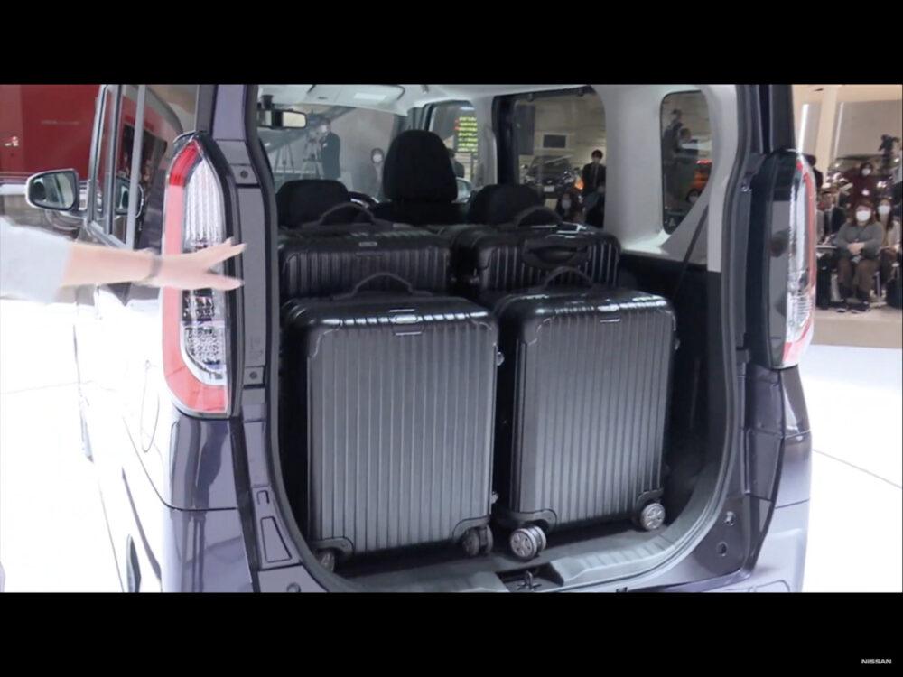 48Lのスーツケースが4つ同時に入った日産新型ルークス