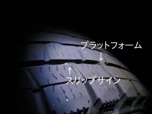 スタッドレスタイヤのプラットフォームとスリップサイン