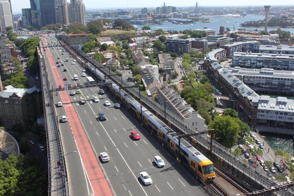 オーストラリアシドニーのハーバーブリッジから見た風景