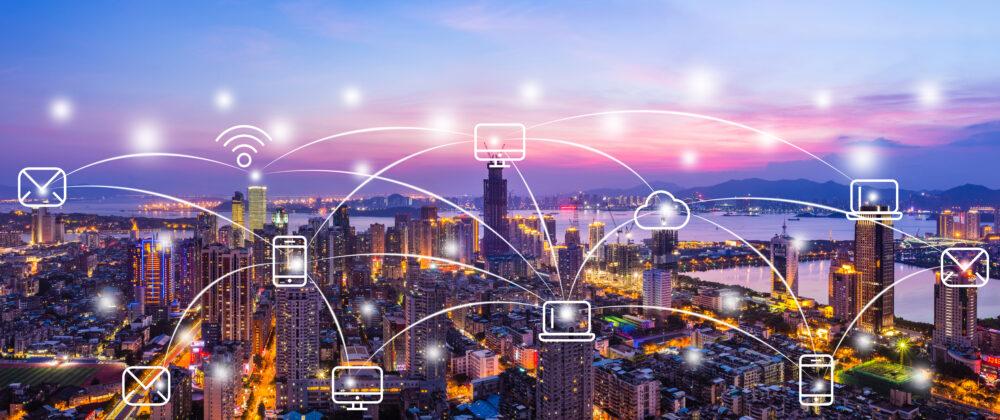 厦門市の風景とビッグデータのコンセプト