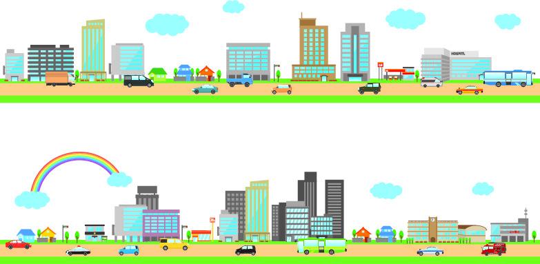 横向きの街並み