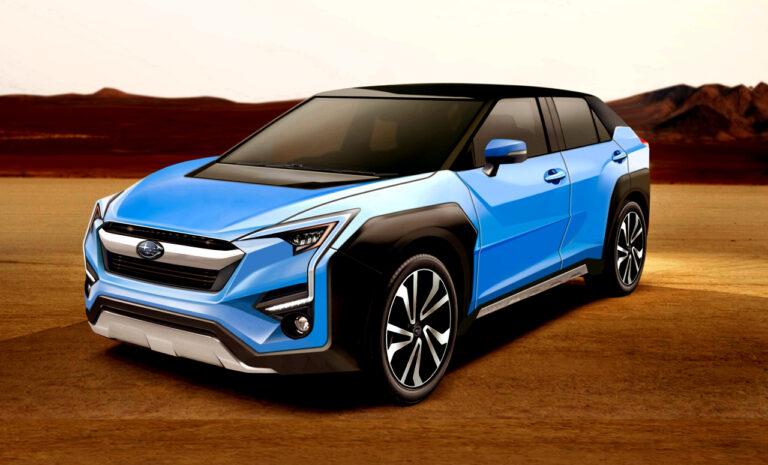 スバルとトヨタが共同開発中の新型EV・クロスオーバーSUVの予想CG。
