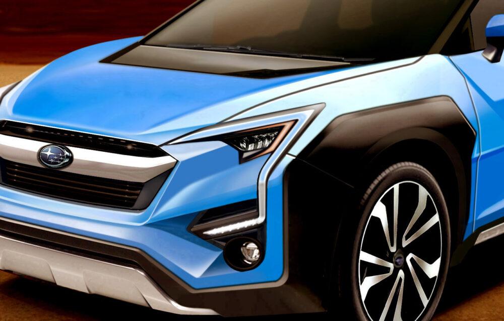 スバルとトヨタが共同開発中の新型EV・クロスオーバーSUVの予想CG。フロント部を拡大。