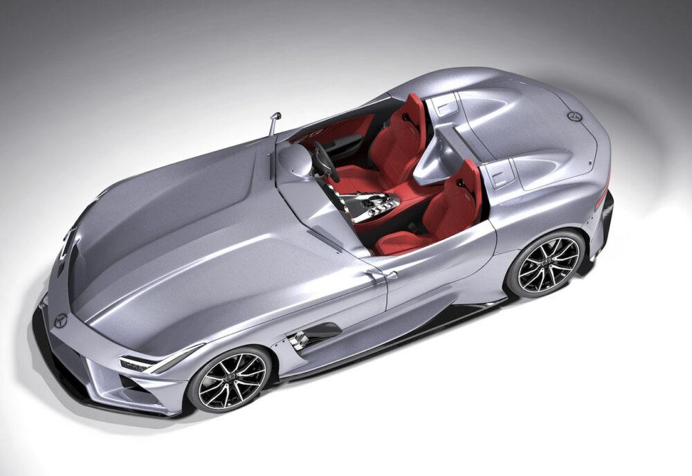 メルセデス・ベンツ SLRマクラーレン復活新型予想CG 真上から俯瞰