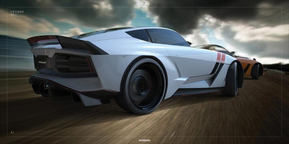 次期新型フェアレディZ 予想CG ドリフトする2台のリア