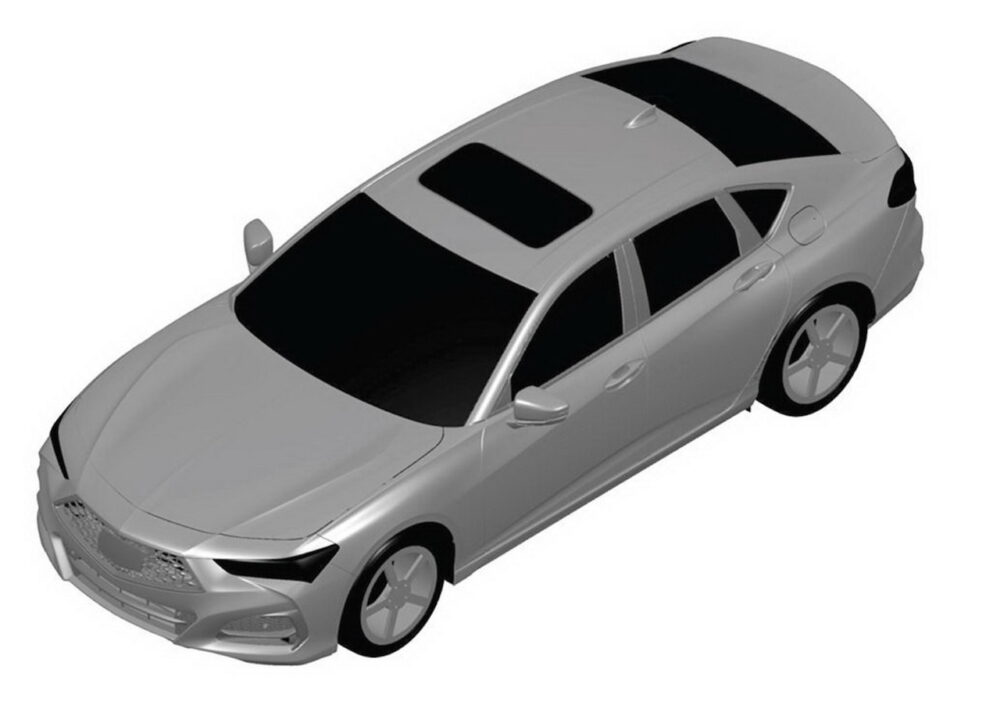 次期新型アキュラ TLX リークされた特許画像 車両左方上から俯瞰