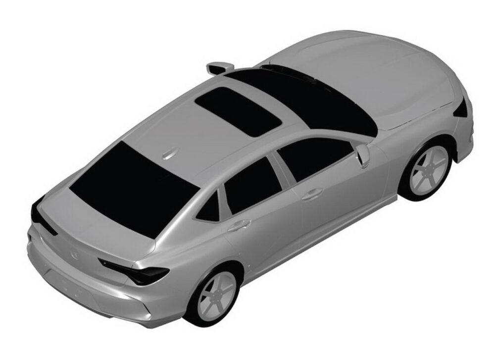 次期新型アキュラ TLX リークされた特許画像 車両右後方上から俯瞰