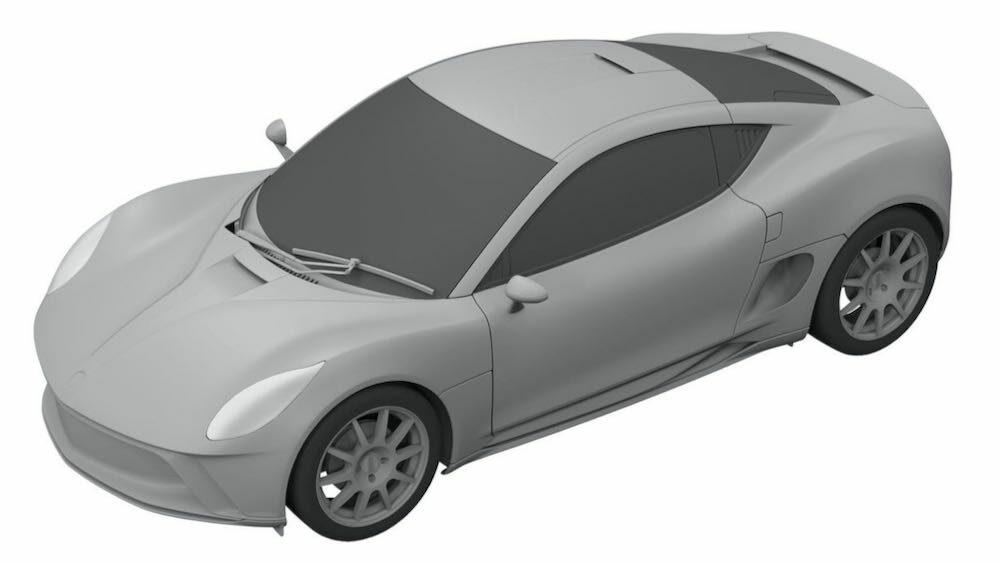 新型ヤマハ 2ドアクーペ EVの流出した特許画像 車体右前方から俯瞰