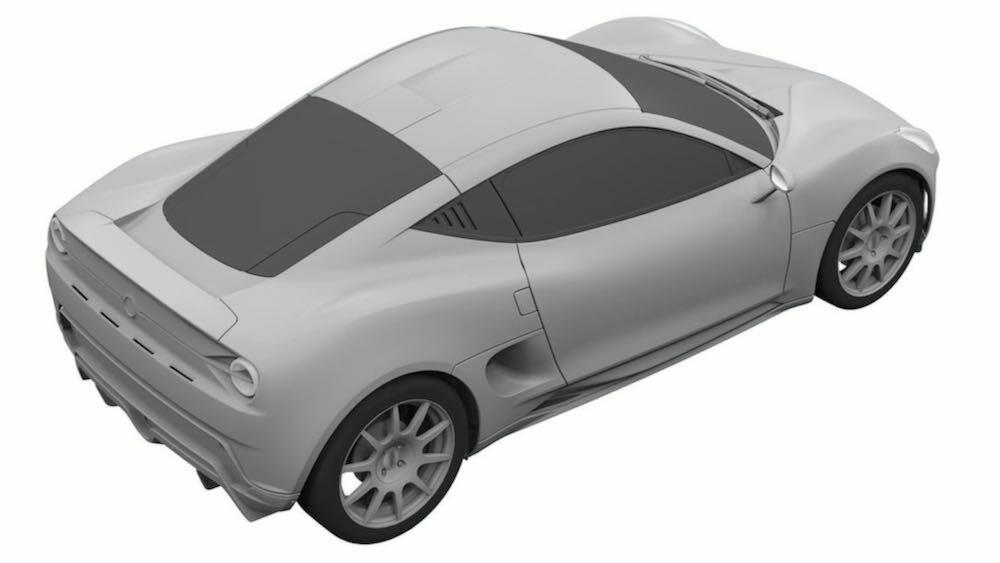 新型ヤマハ 2ドアクーペ EVの流出した特許画像 車体右後方から俯瞰