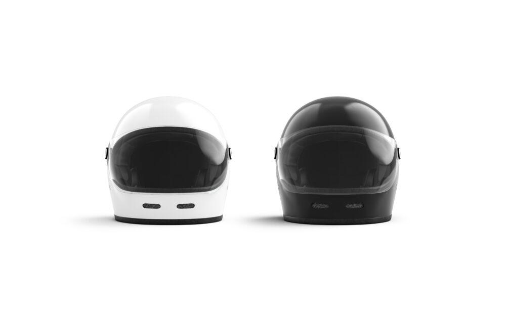 黒と白のヘルメット