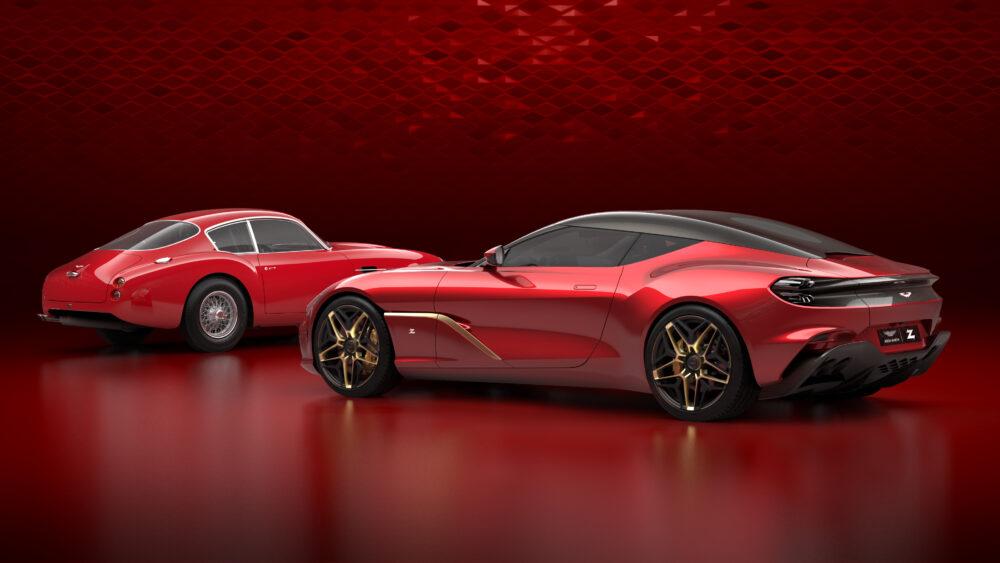 アストンマーティンが公開した「DBS GT ザガート」(画像右)と 左のクラシックなスポーツカーは復刻生産される「DB4 ザガート」の画像。