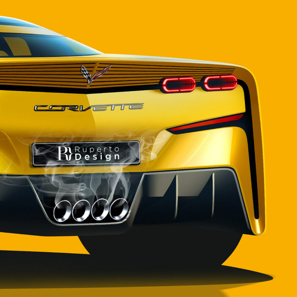 次期新型 C9 シボレー コルベット デザイン予想CG リア拡大