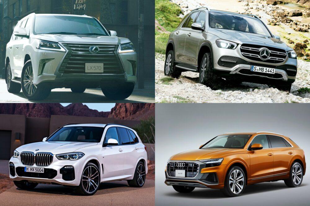 左上から時計回りに、レクサス LX、メルセデス・ベンツ GLE、アウディ Q8、BMW X5。
