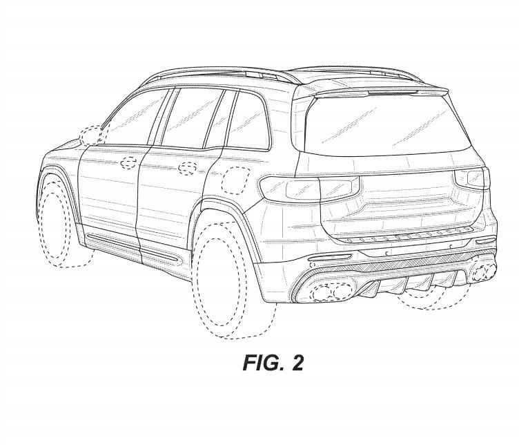 新型メルセデス・ベンツ GLB AMG45 流出した特許画像 リア・ボディサイド