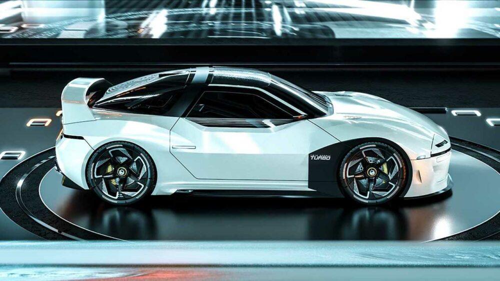 復活新型三菱 4000GT デザイン予想CG 白 ボディサイド