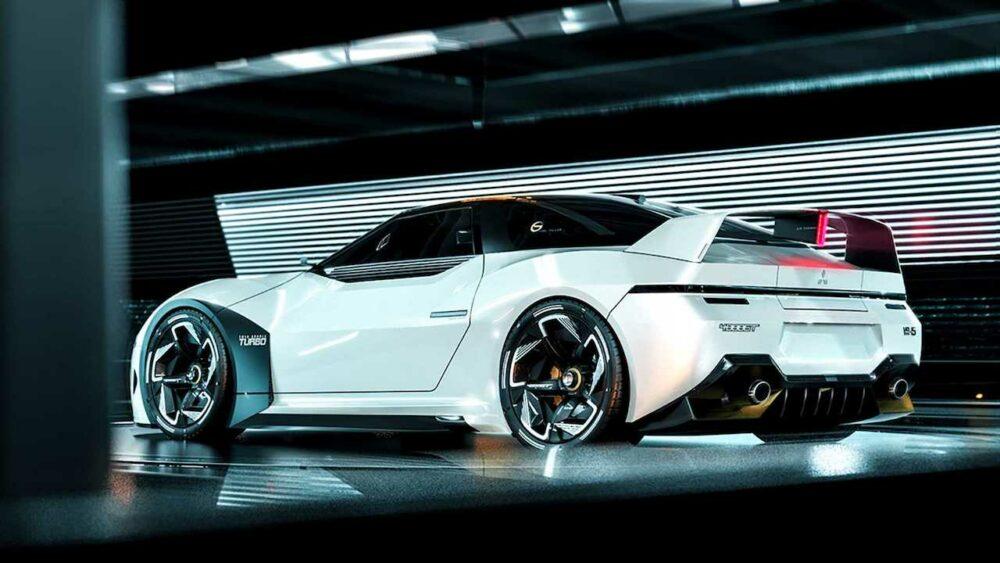 復活新型三菱 4000GT デザイン予想CG 白 リアサイド