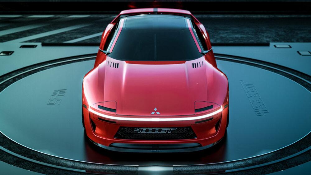 復活新型三菱 4000GT デザイン予想CG 赤 フロント