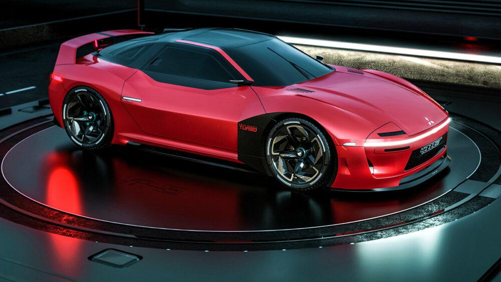復活新型三菱 4000GT デザイン予想CG 赤 フロントサイド