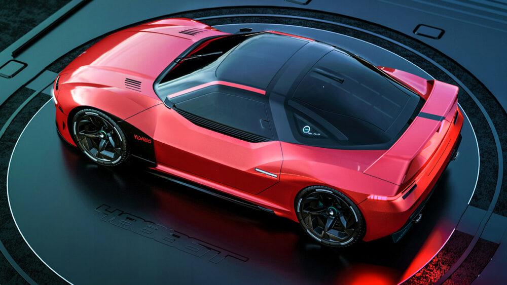 復活新型三菱 4000GT デザイン予想CG 赤 ルーフ