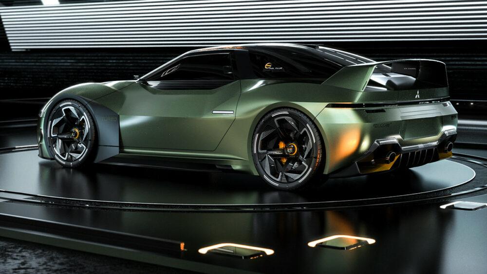 復活新型三菱 4000GT デザイン予想CG 緑 リアサイド