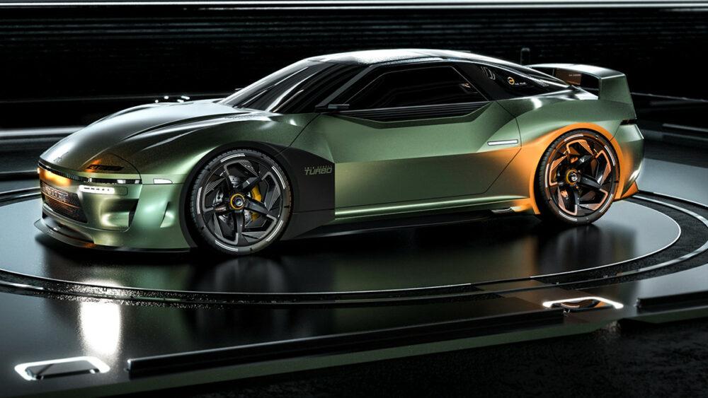 復活新型三菱 4000GT デザイン予想CG 緑 ボディサイド