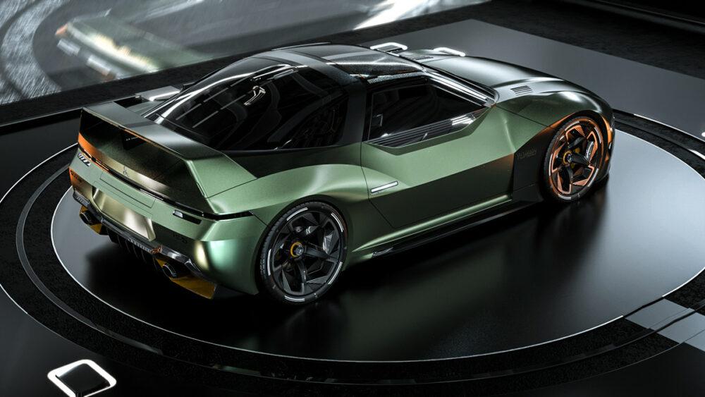 復活新型三菱 4000GT デザイン予想CG 緑 ルーフ