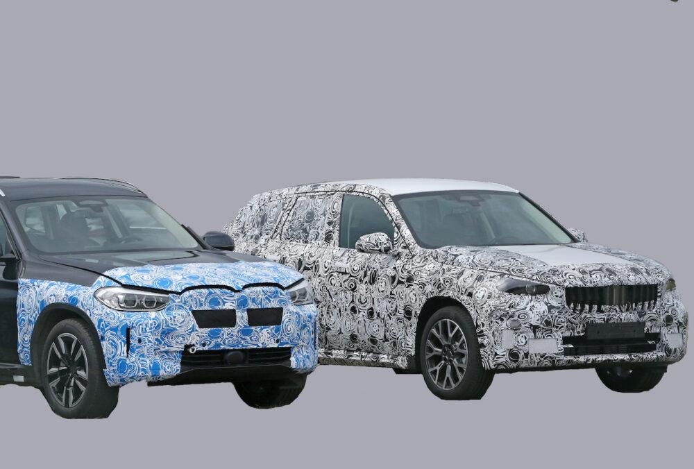 次期新型BMW X1 プロトタイプ スパイショット と現行モデル フロント