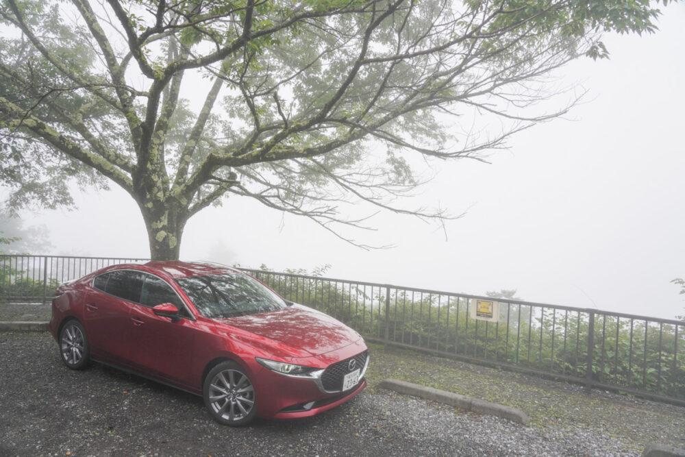 奥多摩周遊道路 月夜見第2駐車場 クルマはマツダ3 濃霧