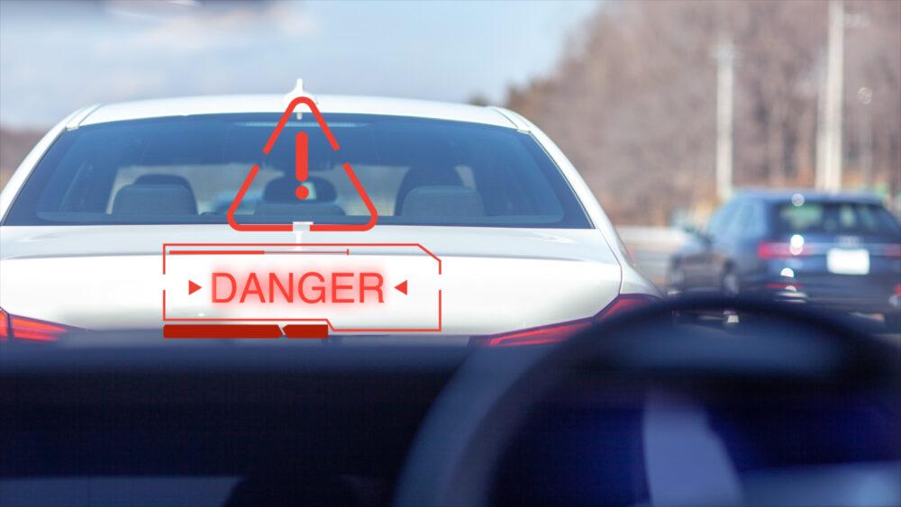 警告とパトカー