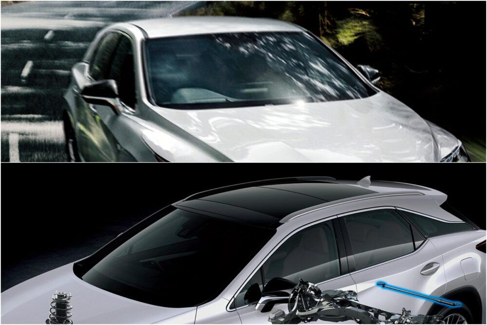 レクサスRX パノラマルーフ装着車(上)と、非装着車(下)
