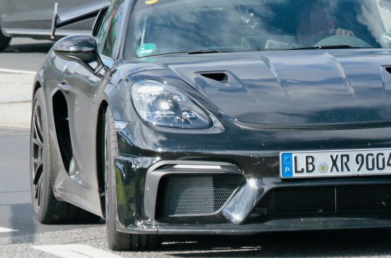 新型ポルシェ ケイマン GT4 RS プロトタイプ フロント拡大