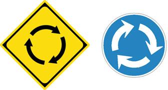 ロータリー(左)とラウンドアバウト(右)の標識