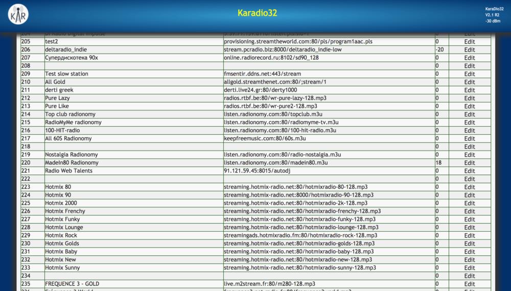 Cassettifyに登録されているラジオ局の一覧画面