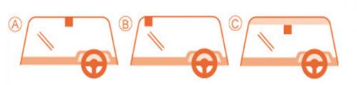 車検シールの貼る位置画像です。