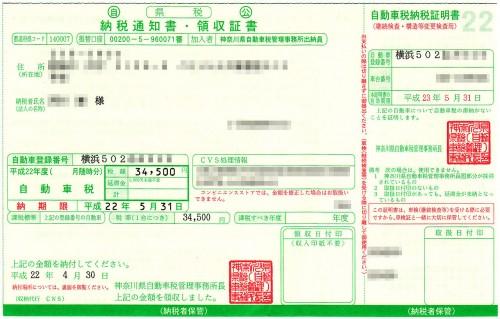 自動車税 納税通知書 納税証明書