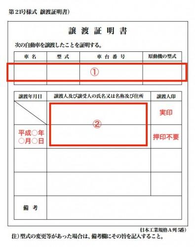 車の譲渡証明書 記入例