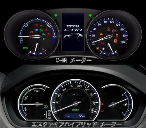 トヨタ C-HR エスクァイア メーター比較