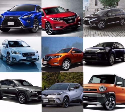 国産SUV トヨタ ハリアー C-HR レクサス RX 日産 アウトランダー マツダ CX-5 スズキ ハスラー 三菱 アウトランダー スバル XV