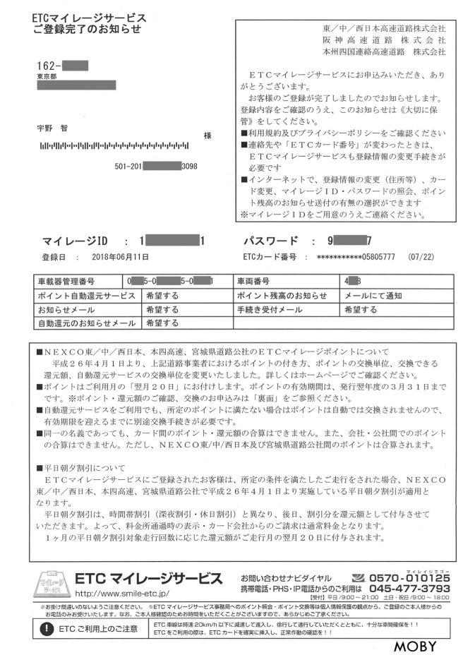 ETCマイレージカード 登録完了通知書