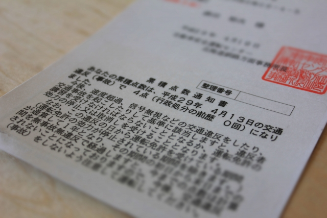 交通違反 累積点数通知書