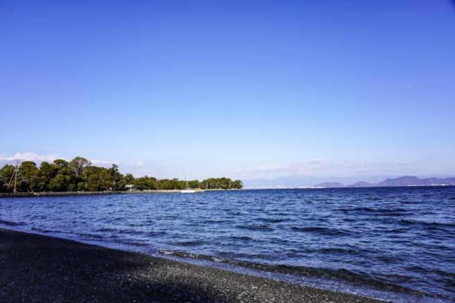 大瀬崎海水浴場からビャクシン樹林を望む
