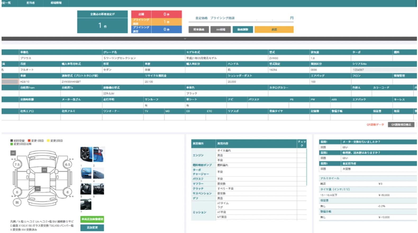 DataLine AI査定 価格権限者側操作画面
